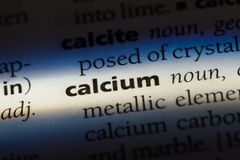 Calcium. Word in a dictionary.  concept Royalty Free Stock Photos