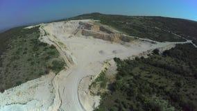 Calcium carbonate quarry, aerial shot stock footage