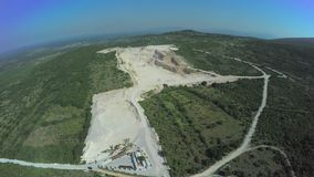 Calcium carbonate quarry, aerial shot stock video footage