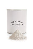 Calcium carbonate whiting. Is a flux used in pottery glazes to improve durability and hardness. CaCO3. Label made for the photo shoot, no copyright infringement Royalty Free Stock Photography