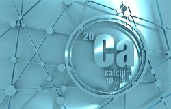 Calcium chemical element. Sign with atomic number and atomic weight. Chemical element of periodic table. Molecule And Communication Background. Connected lines Stock Images