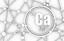Calcium chemical element. Sign with atomic number and atomic weight. Chemical element of periodic table. Molecule And Communication Background. Connected lines Royalty Free Stock Image