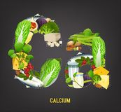 Calcium in Food. Beautiful vector illustration in modern style on a dark grey background. Top foods highest in Ca in a shape of a letters Royalty Free Stock Photography