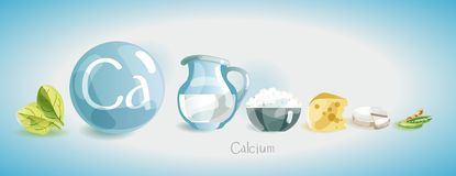 Free Calcium In Food. Natural Organic Foods High In Calcium. Time For Health Stock Photography - 138088842