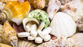 Calcium natural food supplement pills on the beautiful seashells background Stock Image