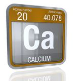 Calcium symbol  in square shape with metallic border and transparent background with reflection on the floor. 3D render. Element number 20 of the Periodic Stock Photography