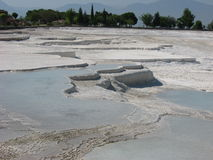 Calcium travertines in Pamukkale Stock Photos
