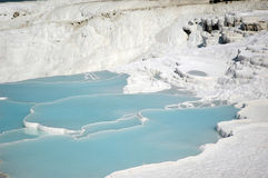 Calcium waterfalls. View of the calcium waterfalls in Pamukkale, Turkey Royalty Free Stock Photography