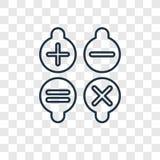 Calcolando l'icona lineare di vettore isolata su backgroun trasparente royalty illustrazione gratis
