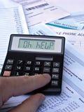 Calcolatore & fatture Fotografia Stock