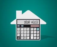 Calcolatore - comprare una casa illustrazione di stock