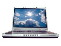 Calcolatore - computer portatile bluesky Fotografia Stock