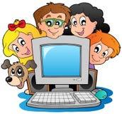 Calcolatore con i bambini ed il cane del fumetto Immagine Stock