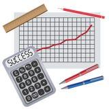 Calcolatore con il diagramma di progresso. Immagine Stock