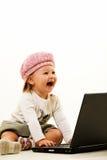 Calcolatore del bambino genious Fotografie Stock