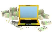 Calcolatore dorato dei succsess con soldi intorno Fotografie Stock
