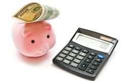 Calcolatore e banca piggy Fotografia Stock