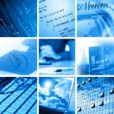 Calcolatore e collage di affari Fotografie Stock Libere da Diritti