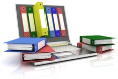 Calcolatore e dispositivi di piegatura illustrazione di stock