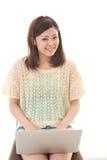 Calcolatore e donna Immagine Stock Libera da Diritti