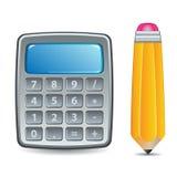 Calcolatore e matita illustrazione di stock