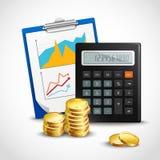Calcolatore e monete dorate illustrazione di stock