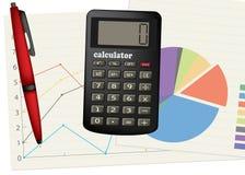 Calcolatore e penna. illustrazione di stock