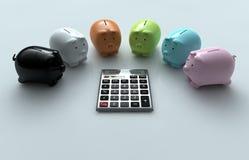 Calcolatore e porcellino salvadanaio Fotografia Stock