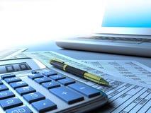 Calcolatore e rapporto del calcolatore illustrazione di stock