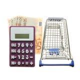 Calcolatore, euro note e carrello isolati su bianco immagini stock libere da diritti