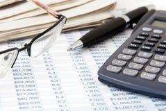 Calcolatore finanziario Immagine Stock