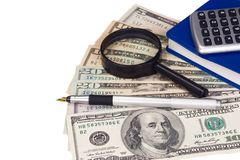 Calcolatore, libro e dollari Immagini Stock Libere da Diritti