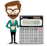 Calcolatore matematico della tenuta dell'uomo illustrazione vettoriale