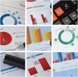Calcolatore, penna e grafico Immagini Stock