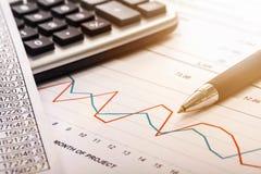 Calcolatore, penna ed il rapporto finanziario Fine in su Fotografia Stock