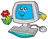 Calcolatore sveglio con il fiore illustrazione di stock