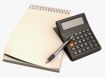 Calcolatore, taccuino e penna Fotografia Stock Libera da Diritti