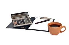 Calcolatore, tazza di cofee e taccuino Immagine Stock Libera da Diritti