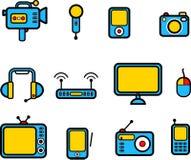 Calcolatori ed icone della strumentazione di elettronica Immagine Stock