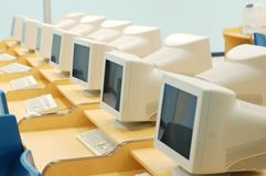 Calcolatori nell'aula Fotografia Stock