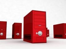 Calcolatori rossi Fotografia Stock