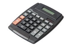Calcolatrice elettronica digitale nera sui precedenti bianchi Immagine Stock