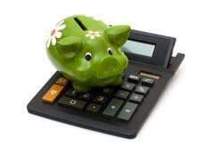 Calcolazione del vostro risparmio Fotografia Stock