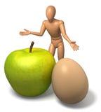 Calcoli, equipaggi la mela e l'uovo d'offerta - metafora per l'affare Fotografie Stock Libere da Diritti