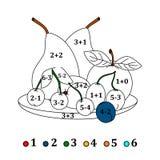 Calcoli gli esempi e riempia i colori secondo il risultato - frutti Immagine Stock