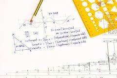 Calcoli trigonometrici fotografia stock