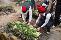 Calcotada - популярное гастрономическое событие в Valls Стоковое Изображение