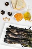 Calcots grillés tout entier, oignons doux, et sauce à romesco typique du Ca Image stock