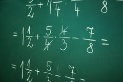 Calcualting avec des fractions photo stock