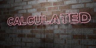 CALCULÉ - Enseigne au néon rougeoyant sur le mur de maçonnerie - 3D a rendu l'illustration courante gratuite de redevance illustration libre de droits